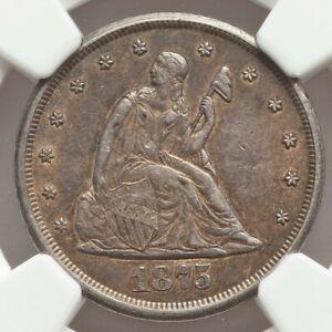 1875-CC 20C AU58 NGC seated liberty