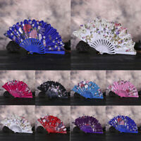 Fashion Chinese Style Dance Wedding Party Lace Silk Folding Hand Held Flower Fan