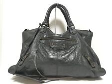 Auth BALENCIAGA The work 132110 Black Leather Handbag