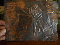 Salvage VINTAGE Bull & Matador Picture Wall copper color 3D Sheet only 8x6""