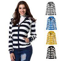 Women Ladies Zipper Tops Hoodie Casual Slim Stripe Hooded Sweatshirt Coat Jacket