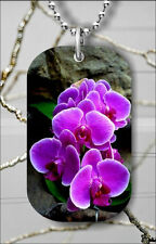 FLOWER BLUE ORCHID DOG TAG PENDANT NECKLACE FREE CHAIN -f3w