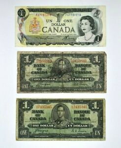 Lot of three Bank of Canada $1 One Dollar Notes two 1937 & 1973 99c NO RESERVE