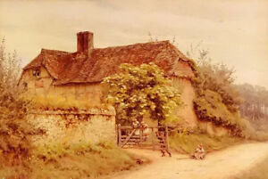 Oil painting frederick waters watts - a berkshire cottage farmhouse landscape