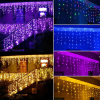 5M 216 LED Icicle Snowing Fairy String Lights Curtain Christmas Wedding Party