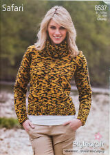 "Stylecraft Knitting Pattern Chunky Polo Neck Sweater 32-42"" Ladies Safari  8537"
