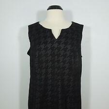 TRIBAL Women's Black Sheath Dress Houndstooth Print,size 14W