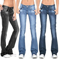 ❤️ Womens Vintage Low Waist Flared Jeans Pants Casual Denim Bell Bottom Trousers