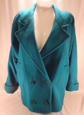 Womens Teal Green London Fog Wool Thigh Length Jacket Coat Vintage 80s 10 M USA