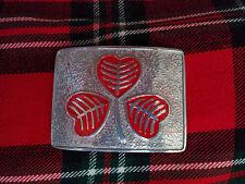 TC Men's Kilt Belt Buckle Irish Shamrock Red Color/Irish Shamrock Kilt Buckle