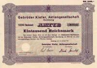 Gebrüder Kiefer AG Duisburg hist. Aktie 1941 Disch Wille Baugesellschaft Marina