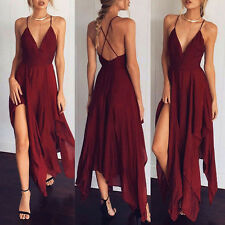 2017 Summer Womens Strap High Slit Long Beach Dress V-neck Irregular Hem Dresses