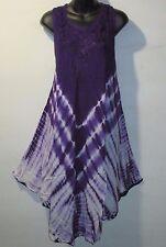 Dress Fits XL 1X 2X Plus Purple Tie Dye A Shaped Sundress Embroidery NWT GU27
