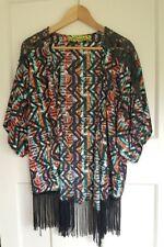 Liquorish ASOS Shrug Top Jacket Pattern Fringed Size S/M 8 10 12 Festival Boho