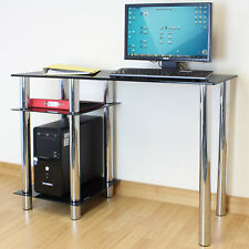 Black Glass Top PC Computer Desk with Base Unit Shelf Home Office/Study Table