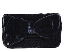 Genuine Juicy Couture Velvet Bow Clutch Bag Navy Blue Quilted Envelope