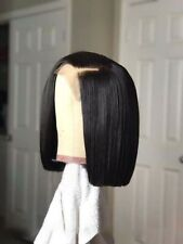 100% Real Indian Virgin Lace Front Human Hair Full Wig Short Straight Bob Wig
