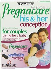 2 x New Vitabiotics Pregnacare His & Her Conception 60 Tablets