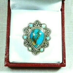 Copper Blue Turquoise,Created Fire Opal Solid Sterling Silver Ring US (7) AU (O)