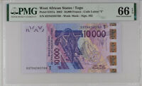 WEST AFRICAN STATE TOGO 10000 FRANCS 2003 P 818 Ta GEM UNC PMG 66 EPQ