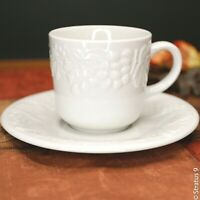 Gibson China - Coffee Cup & Saucer Set - Embossed Grapes & Lattice Pattern