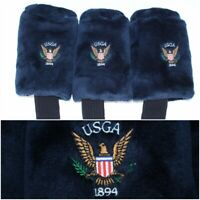Set/Lot of 3 USGA Eagle Logo Golf Club Driver Headcovers Navy Blue 1894