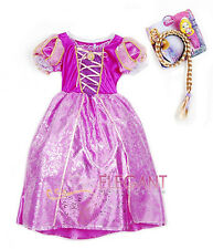 Disney Princess Rapunzel Children Girls Gown Costume Halloween Dress 7-9 Yrs Wig