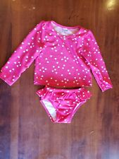 Baby Gap 18-24 M Pink Heart 2 Piece Long Sleeve Rashguard Swimsuit