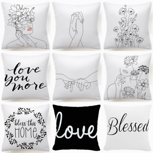 """18x18"""" Black White Throw PILLOW COVER 2-Sided Decorative Sofa Bed Cushion Case"""