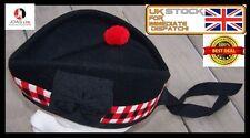 100% Pure Wool Glengarry Bonnet Hat Diced Scottish Piper Glengarry