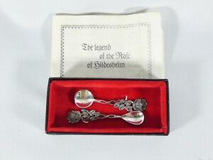 Antique Vintage 2pc Sterling Silver Hildesheim Rose Salt Mustard Spoon Cruet Set