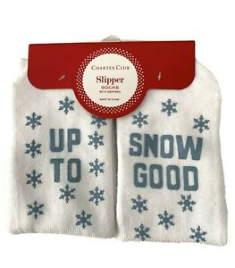 UP TO SNOW GOOD Grippy Womens Socks White One Size Charter Club $12 - NWT