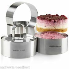 Andrew James 4 Stainless Steel Food Presentation Cooking Rings Catering Serving