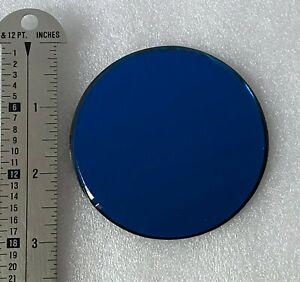 """Decorative 3"""" Circle Beveled Blue Glass Mirror Collectible Figurine Display 1"""