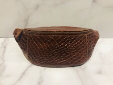 Vintage Brown Glossy Crocodile Fanny Pack Waist Bag