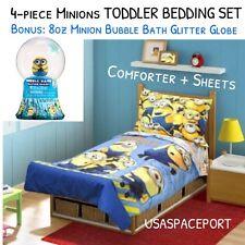 4pc MINIONS Toddler COMFORTER+SHEETS Set Crib Cot Bed in a Bag BONUS BUBBLE BATH