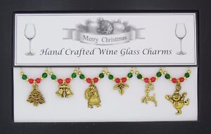 Christmas Silver Or Gold Wine Glass Charms Handmade Just for You