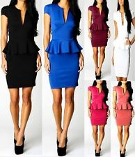 Womens Peplum Cutout Frill Bodycon Sleeveless Dress Ladies Party Celebrity 9005