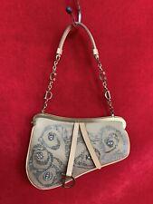 Christian Dior Khaki Beige Beaded Mini Saddle Bag