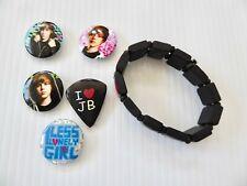 "Justin Bieber 1"" Buttons Pins Badges and Bracelet"