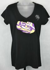 J. America LSU Tigers Black Knit Top Short Sleeve Junior's Size L New Licensed