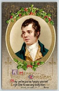 Christmas~Author Poet Burns In Gold Oval~Lace Cravat~Holly Berries~John Winsch
