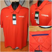 NWT $65 NIKE Clemson Tigers Short Sleeve DRI-FIT Polo Shirt AO4815-888 : Size XL
