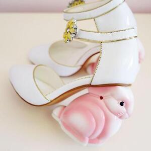2020 New Womens Pointed Toe High Irregular Cartoon Heel Buckle Shoes Fashion QL4