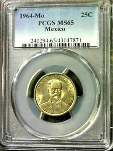 HISPANIC HERITAGE MONTH EXTENDED SALE-1964-Mo PCGS MS65 MEXICO 25c COIN KM#444