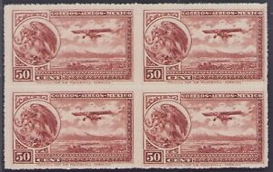 dd55 Mexico Airmail C25 50ctv Block-4 Mint Never Hinged est + VF Beauties
