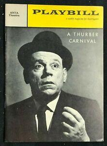 BROADWAY PLAYBILL - Apr 11 1960 - A THURBER CARNIVAL - Tom Ewell / Paul Ford