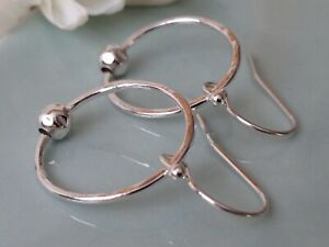Sterling Silver Hammered Circle & Dimpled Ball Handmade Earrings
