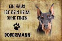 Casa sin Doberman Perro Dog Letrero de Metal Arqueado Cartel Lata 20 X 30CM