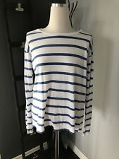 Bench Women Long Sleeve Blue And White Cotton Striped Shirt Size M
